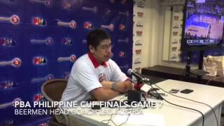 San Miguel Coach Leo Austria answers questions after the Beermen won PBA Philippine Cup 2015