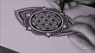 Speed Drawing: Freehand Flower Of Life Mandala