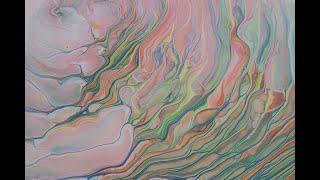 (189) Acrylic Pour Paiฑting Cloud effect rainbow pour with negative space