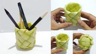Cara Membuat Wadah Pensil dari daun Kelapa - Kreasi Janur