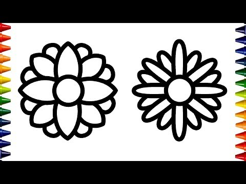 Glitter Flowers Coloring Book  Learn Colors and Paint for Kids  Toddlers  Bum Bum Colors ☆