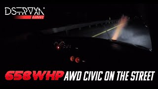 650 WHP AWD Civic Street Launch