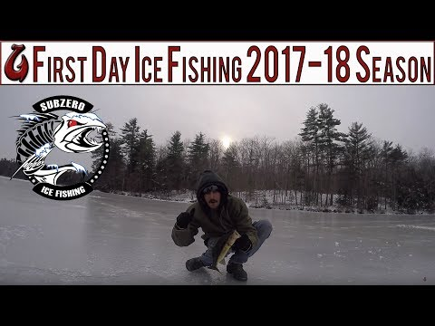 First Day Ice Fishing The Lakes Region of NH 2017 For Bass, Pickerel, and Huge Perch (EPIC DAY)