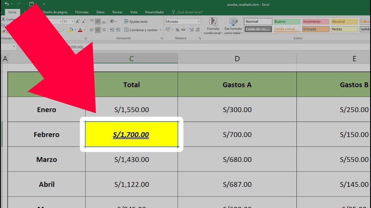 Como resaltar o cambiar de color celda activa en Excel