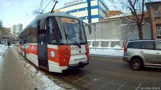Несколько остановок на трамвае ЛМ-2008 (71-153)