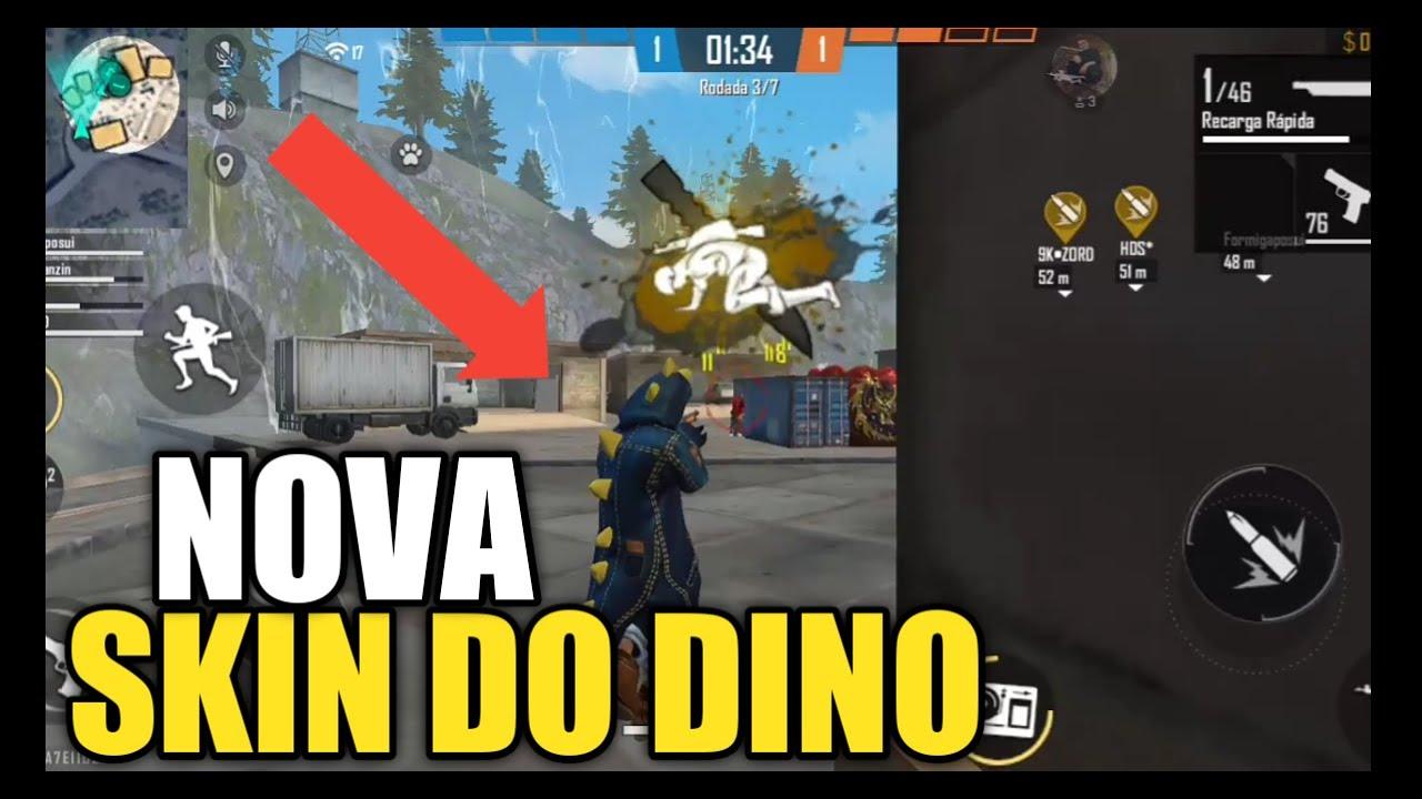 jogando com a nova skin do dino  free fire  youtube