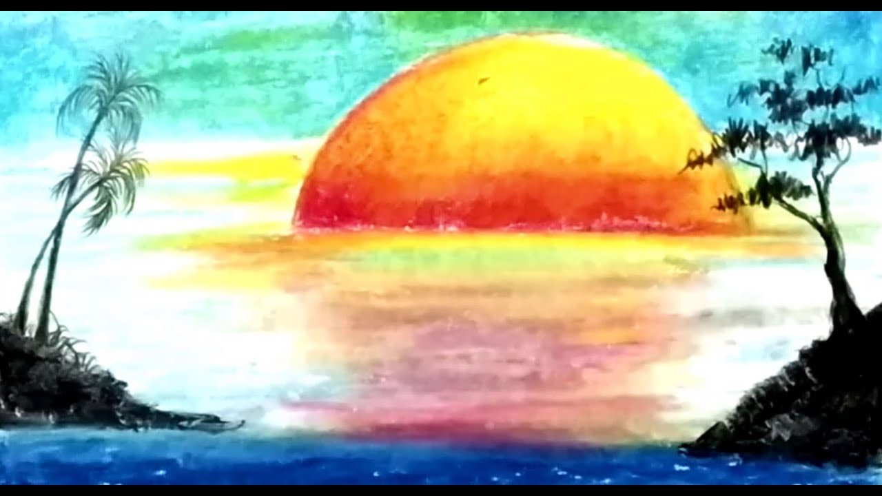 Simple Landscape Nature Scenery Drawing For Kids Step By