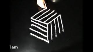 easy rangoli designs with 5X3 dots * simple padi kolam * creative muggulu designs* S2 kolam