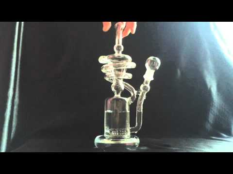 spiral designed bong,two functions Glass Recycler,clear glass bong,hot selling glass water pipes