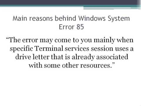 Fix Windows System Error 85