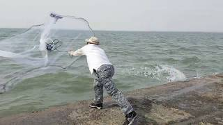 삽교천 방조제에 투망 대물입니다 cast a net 撒网捕鱼