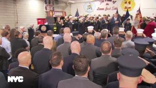 Mayor de Blasio Speaks at Plaque Dedication of Fire Marshal Christopher T. Zanetis