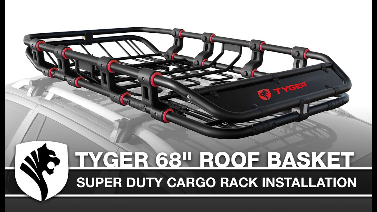 tyger super duty adjustable roof cargo basket installation l 68 x w 41 x h 8