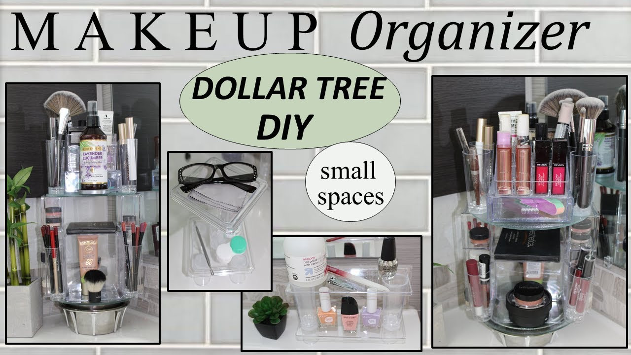 MAKEUP STORAGE IDEAS (12)  Dollar Tree DIY  ROTATING MAKEUP ORGANIZER   Bathroom Decor