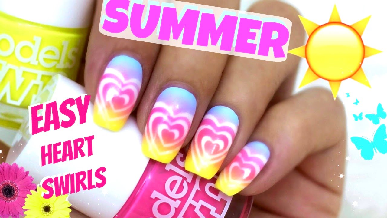 Rainbow Summer Nails Vinyl Heart Swirls Sommer Nageldesign