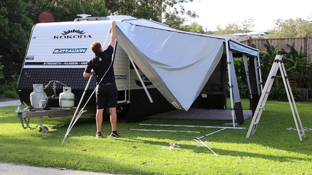 Caravan Awning Porch - YouTube