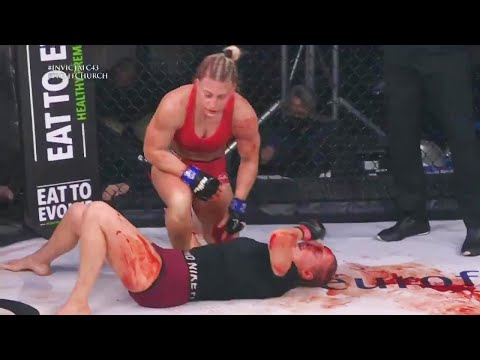 Female MMA Fighter Kayla Harrison Destroys Opponent With TKO