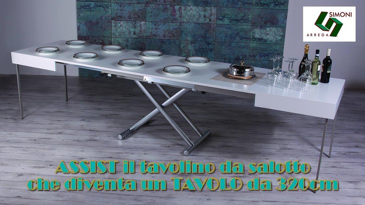 Tavolino trasformabile in tavolo assist da 320 cm youtube for Simoni arreda milano