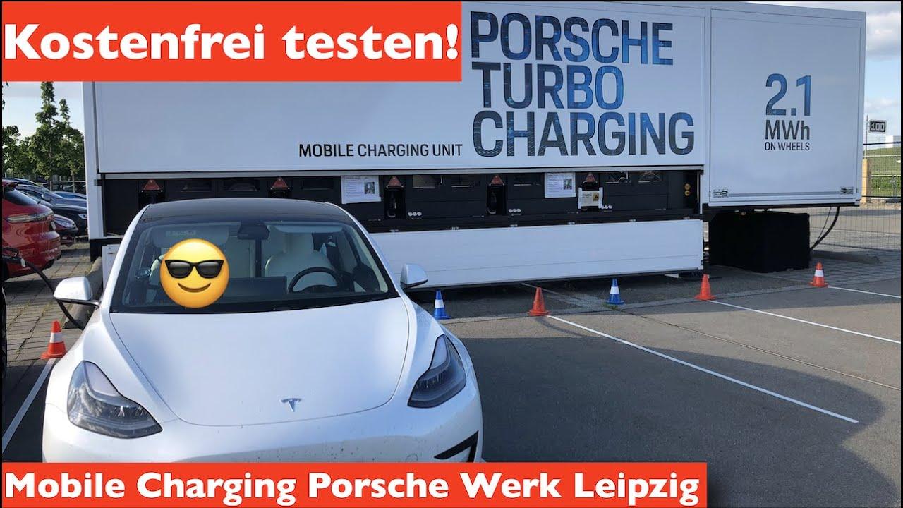 An der mobilen Ladestation von Porsche in Leiptig kostenlos laden