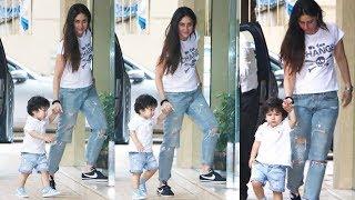 Taimur Ali Khan looking so cute in matching clothes with Mom Kareena Kapoor Khan !