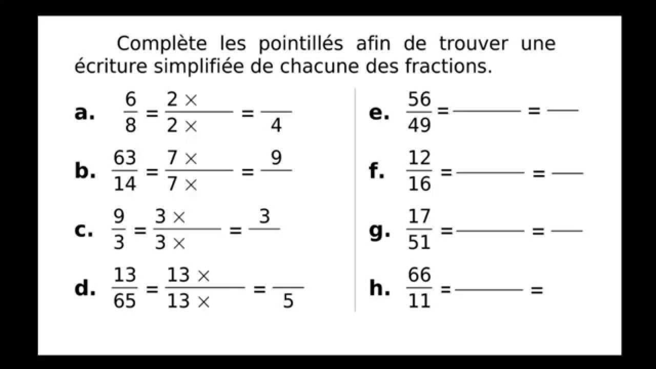 Vidéo élèves : Simplification de fractions - YouTube