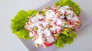 Легкий и свежий салат с редиской и огурцом без майонеза. Готовлю его каждую весну