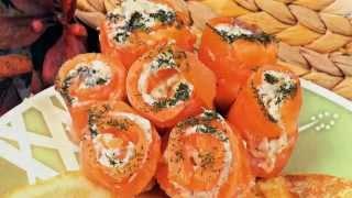 Новогодние закуски, рецепты, блюда на Новый Год 2016! Праздничные рулетики из семги с сыром New roll