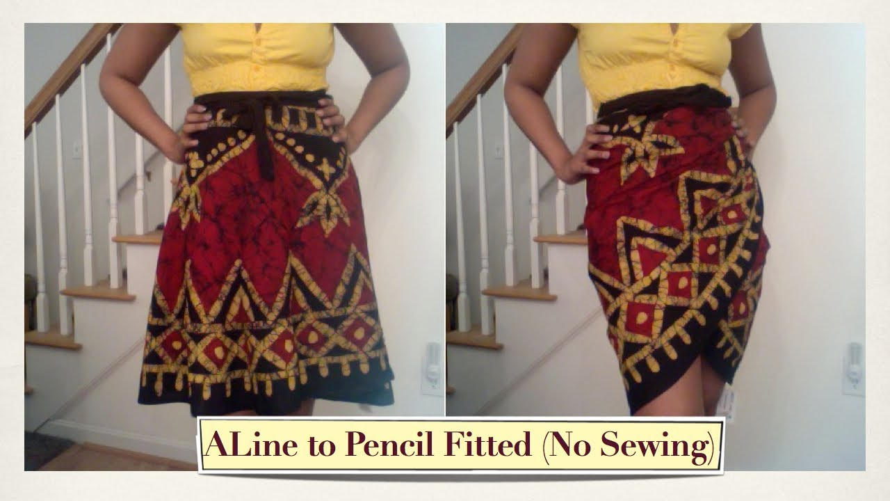 Turn an A Line Wrap Skirt into a Fitted Skirt Without Sewing ...