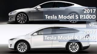 2017 Tesla Model S P100D vs. 2017 Tesla Model X P100D technical comparison