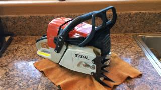 Finished cleaning my friend's Stihl MS361 chainsaw muffler mod & PILTZ felling dogs