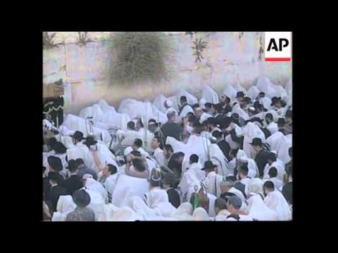 Mass prayer at Western Wall for Jewish holiday of Sukkoth
