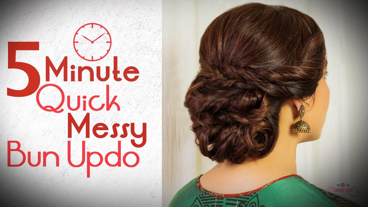 5 Minute Easy Messy Hair Bun Tutorial Step By Step Party Hairstyle