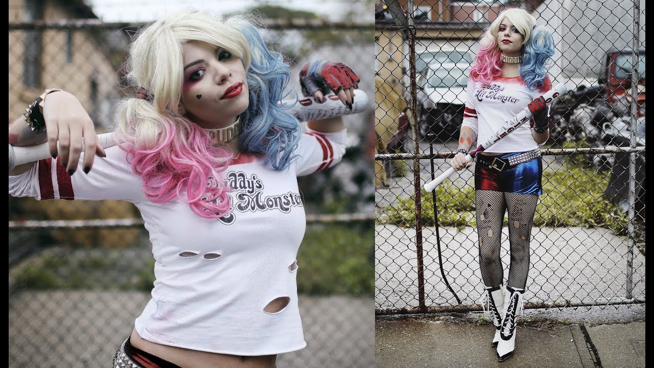 Diy harley quinn costume suicide squad margot robbie youtube solutioingenieria Image collections