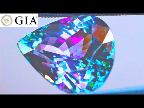 gia-certified-unheated-9.67-ct-multicolored-green-blue-gray-violet-purple-tanzanite-pear-cut