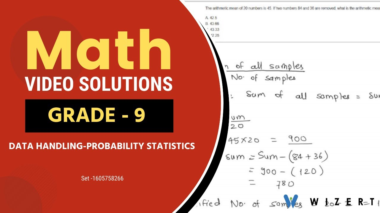 hight resolution of Math Tests And Data Handling – Probability And Statistics worksheets for Grade  9 - Set 1605758266 - YouTube