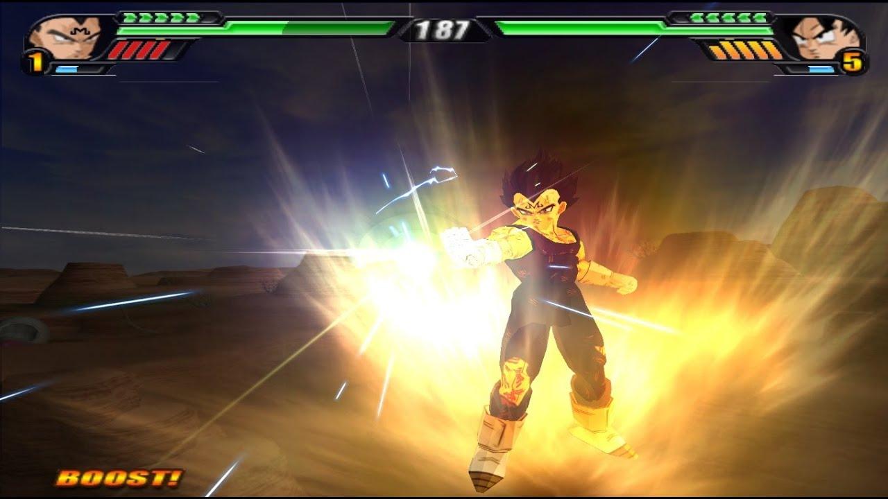Majin Vegeta Base Form VS Goku equipped with a modified ...