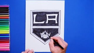How to draw and color the Los Angeles Kings Logo - NHL Team Series