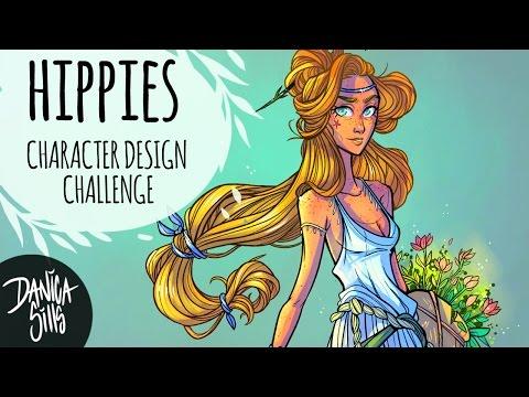 Character Design Challenge ♦ Flower Child Hippie ♦ Digital Art