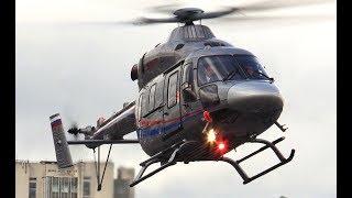 Вертолет Ансат - взлет и посадка - обзор (крупный план)