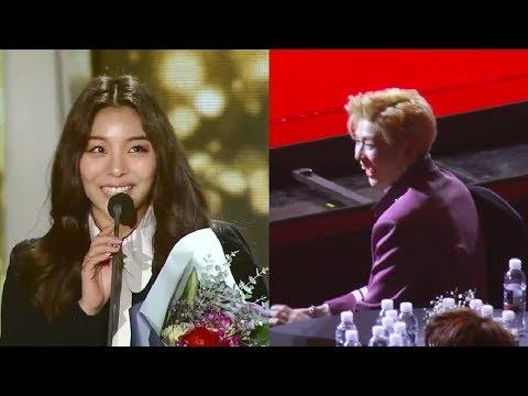 Kang Daniel Reaction to Ailee's Speech (Best OST SMA 2018)