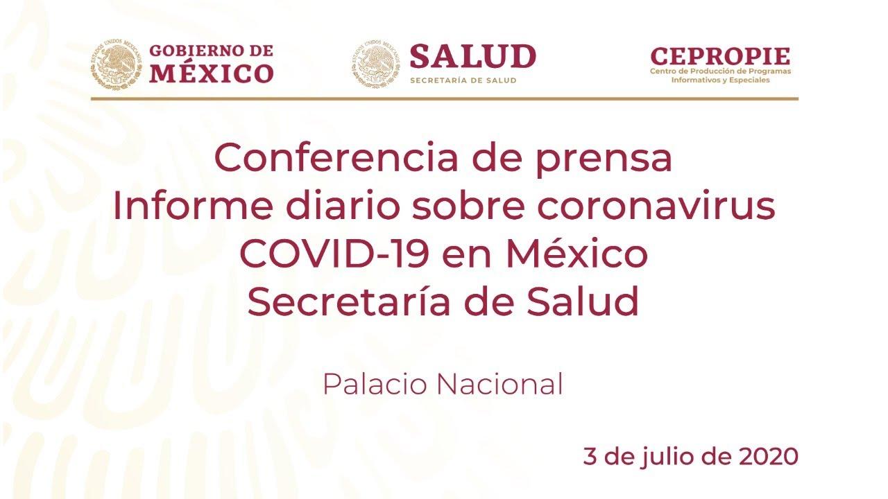Download Informe diario sobre coronavirus COVID-19 en México. Secretaría de Salud. Viernes 3 de julio, 2020