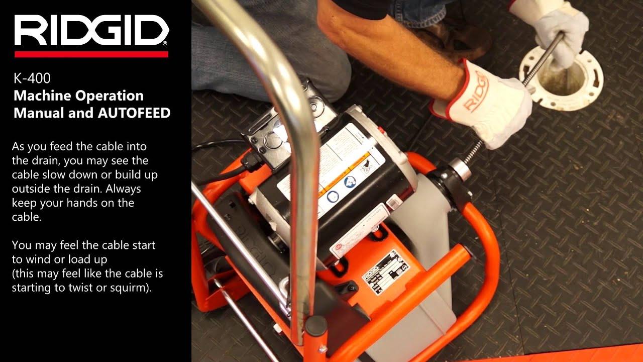ridgid k 400 drum machine machine operation manual autofeed [ 1280 x 720 Pixel ]