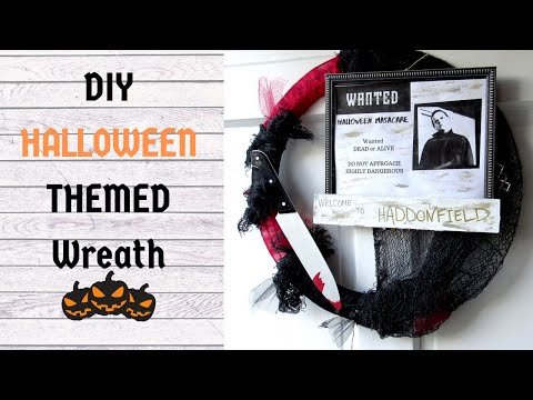 HALLOWEEN THEMED WREATH | Dollar Tree DIY | Halloween Wreath | Michael Myers Wreath | Easy DIY