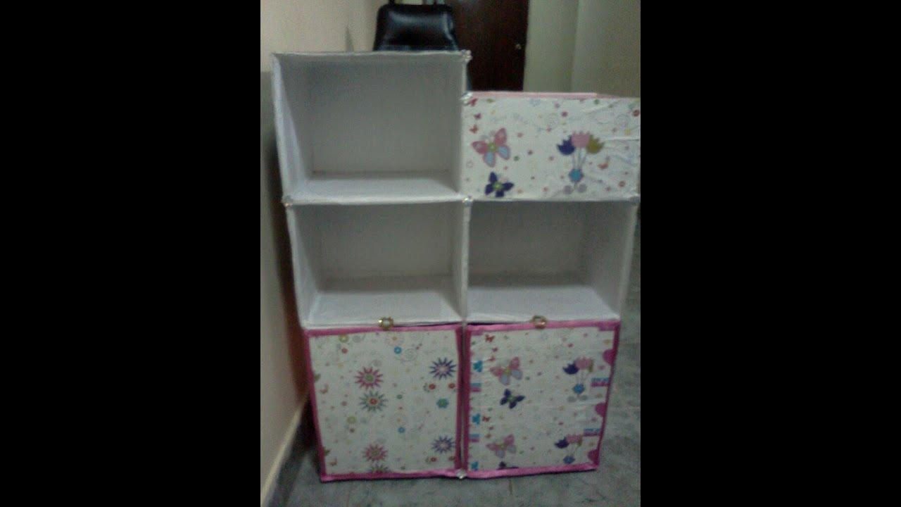 F cil estanter a infantil para libros y tiles de - Como hacer un armario de carton ...