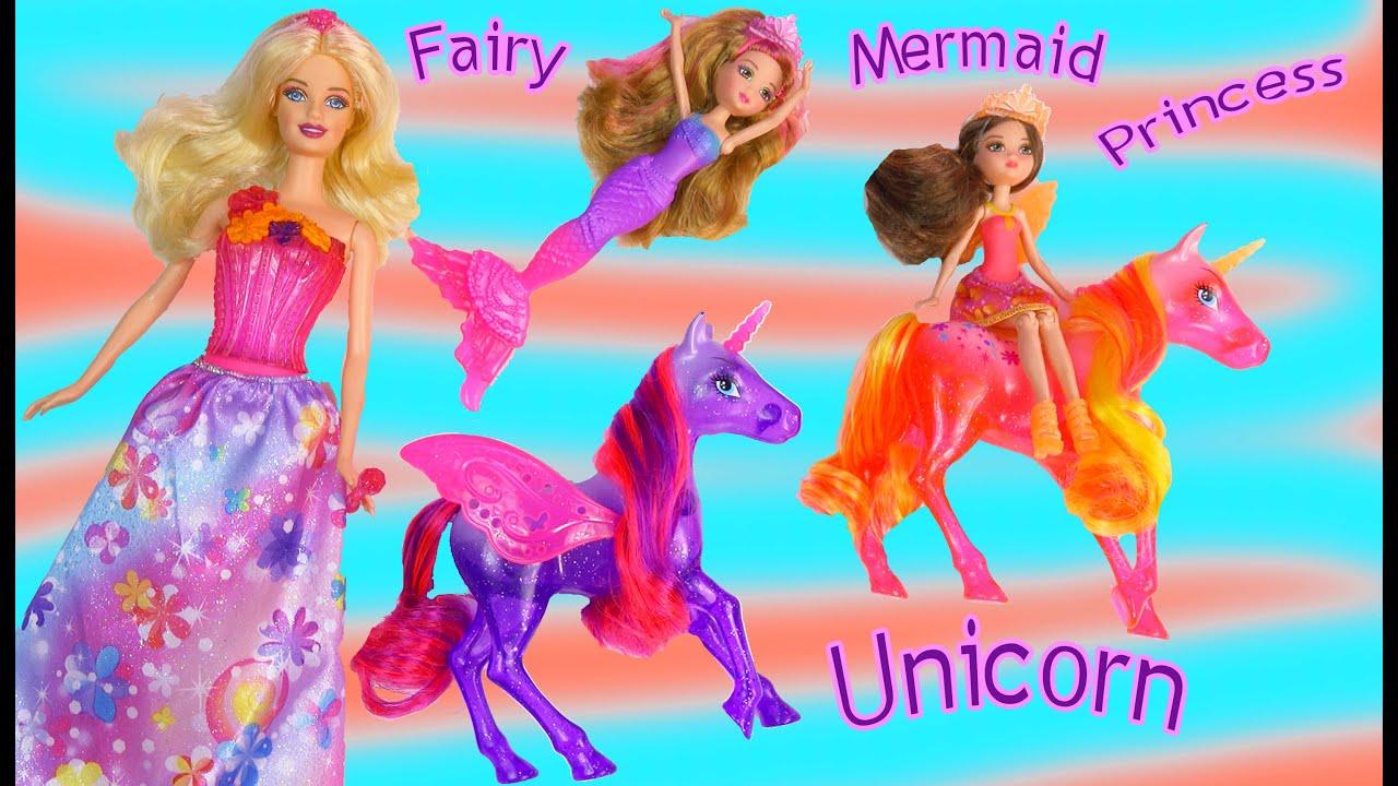 Barbie Doll Unicorn Playset Mermaid Fairy Princess