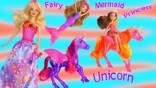 Barbie Doll Unicorn Playset Mermaid Fairy Princess Fairytale The Secret Door Movie Set Toy Unboxing