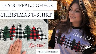 DIY Buffalo Check Christmas Tree Shirt - No Sew