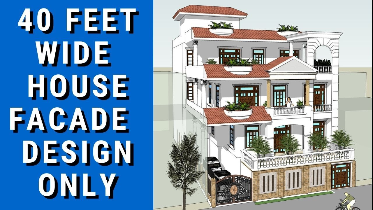 40 Feet wide House Exterior Facade Design in Gomti Nagar Lucknow