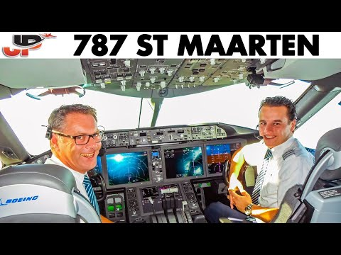 Piloting BOEING 787 Out Of St Maarten - Great Views!