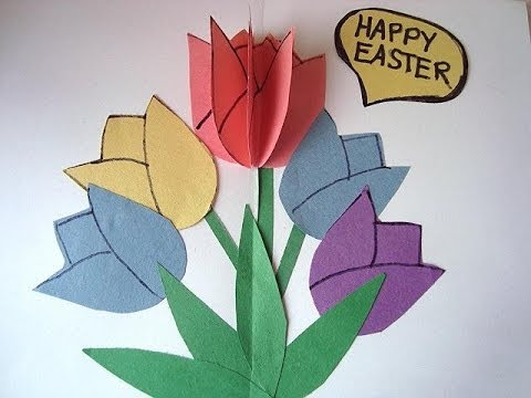 Diy Tulips Pop Up Easter Card 3d Card Crafts For Kids Birthday